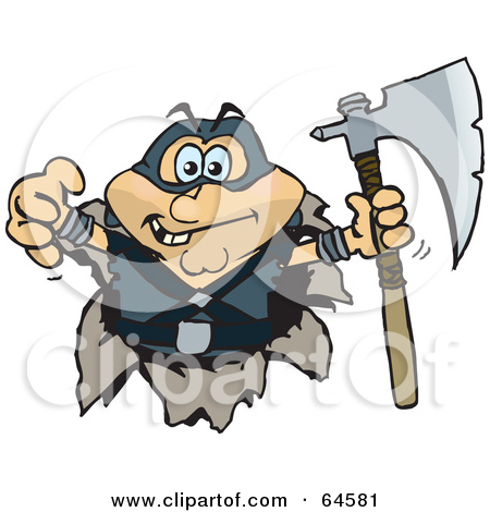 Clipart of a Retro Vintage Black and White Executioner with an Axe.