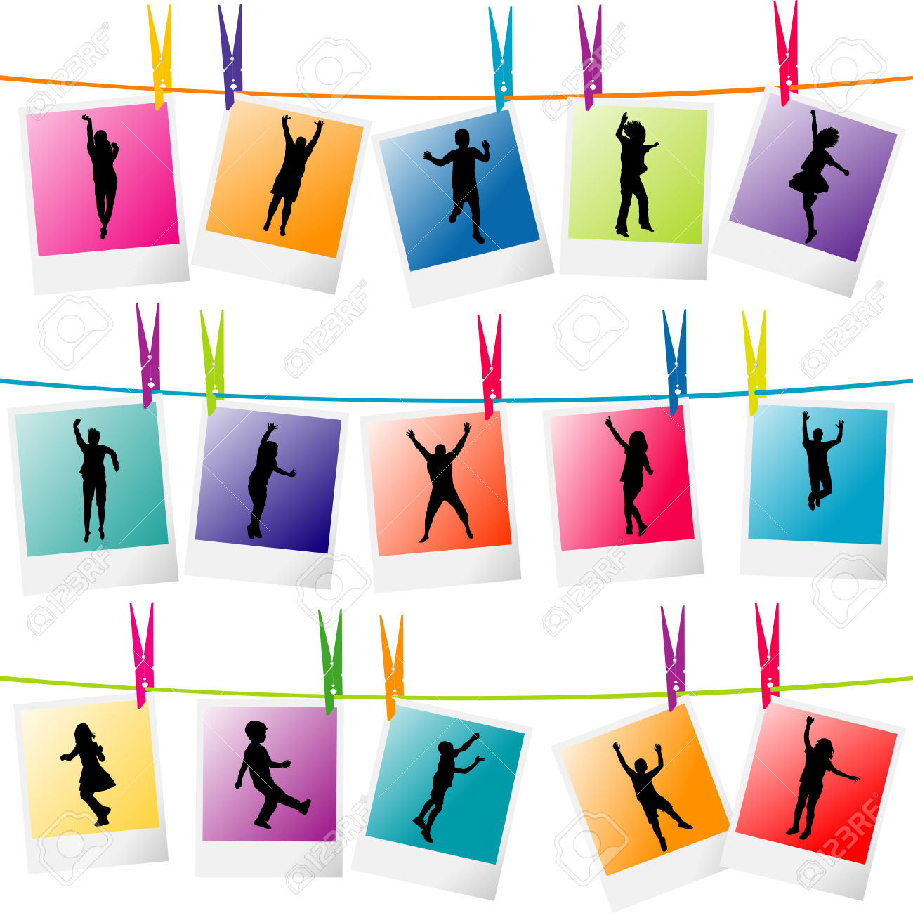 Colorful Photo Frames With Children Silhouettes Hanging On A.