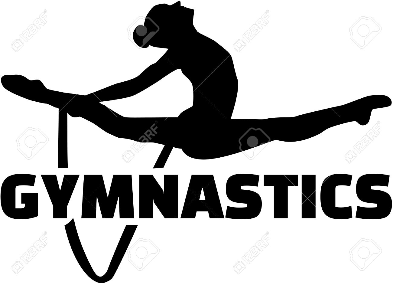 Gymnastics Word With Woman Exercise With Rope Royalty Free.