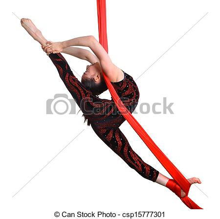 Stock Photography of acrobatic gymnastic girl exercising on red.