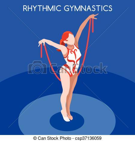 Clipart Vector of Gymnastics Rhythmic Rope Summer Games 3D Vector.