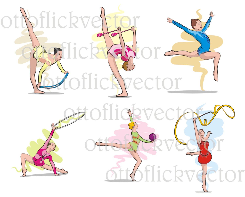 RHYTHMIC GYMNASTICS VECTOR clipart, exercise girls eps, ai, cdr.