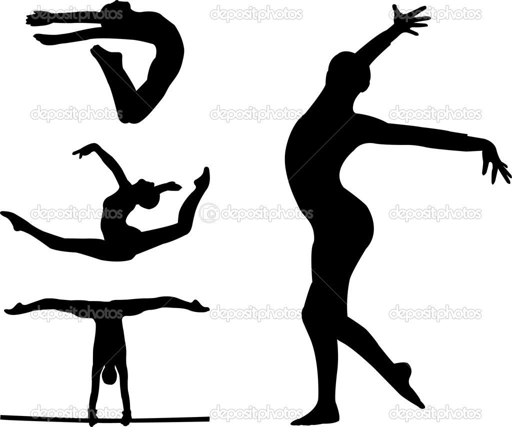 Gymnastics clipart silhouette jump.