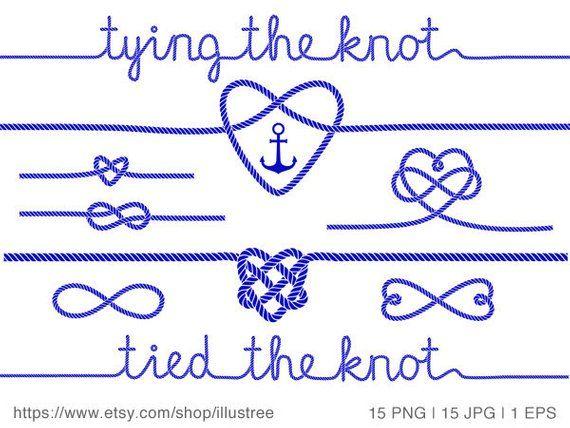 Tying the knot, wedding invitation, nautical clip art, rope.