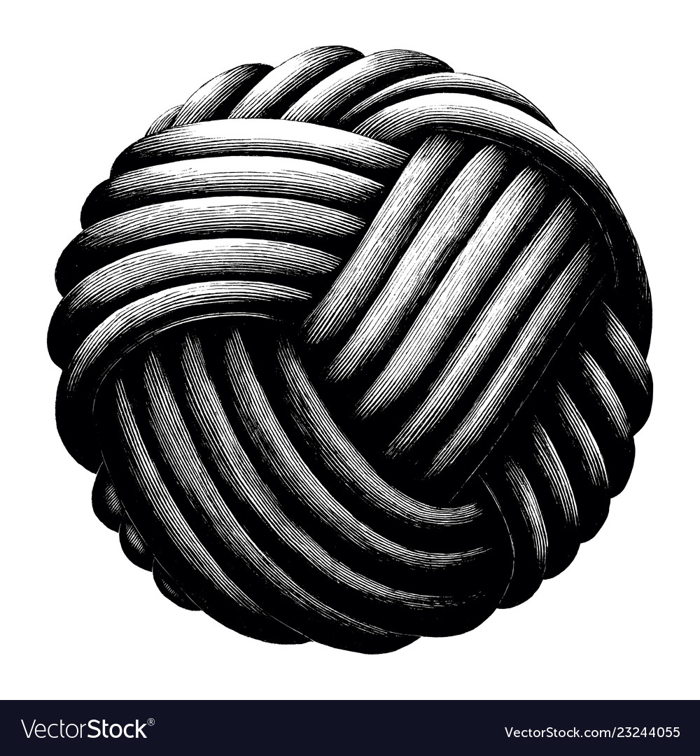 Rope knot sphere hand draw vintage clip art.