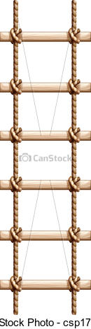 EPS Vectors of A ladder made of wood and rope.