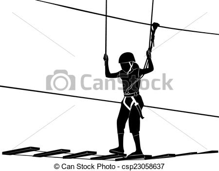 Clipart Vector of children in adventure park rope ladder.