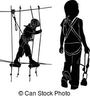 EPS Vector of boy in adventure park rope ladder csp35103844.