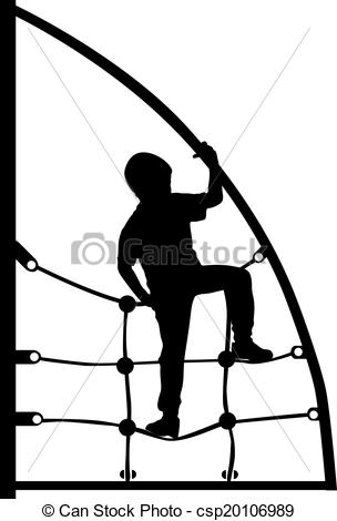 Vector of a boy climbing on the jungle gym rope in the park.