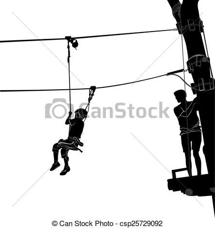 EPS Vectors of children in adventure park rope ladder csp25729092.