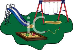 Jump Rope Laying on the Ground of a Playground Clipart Picture.