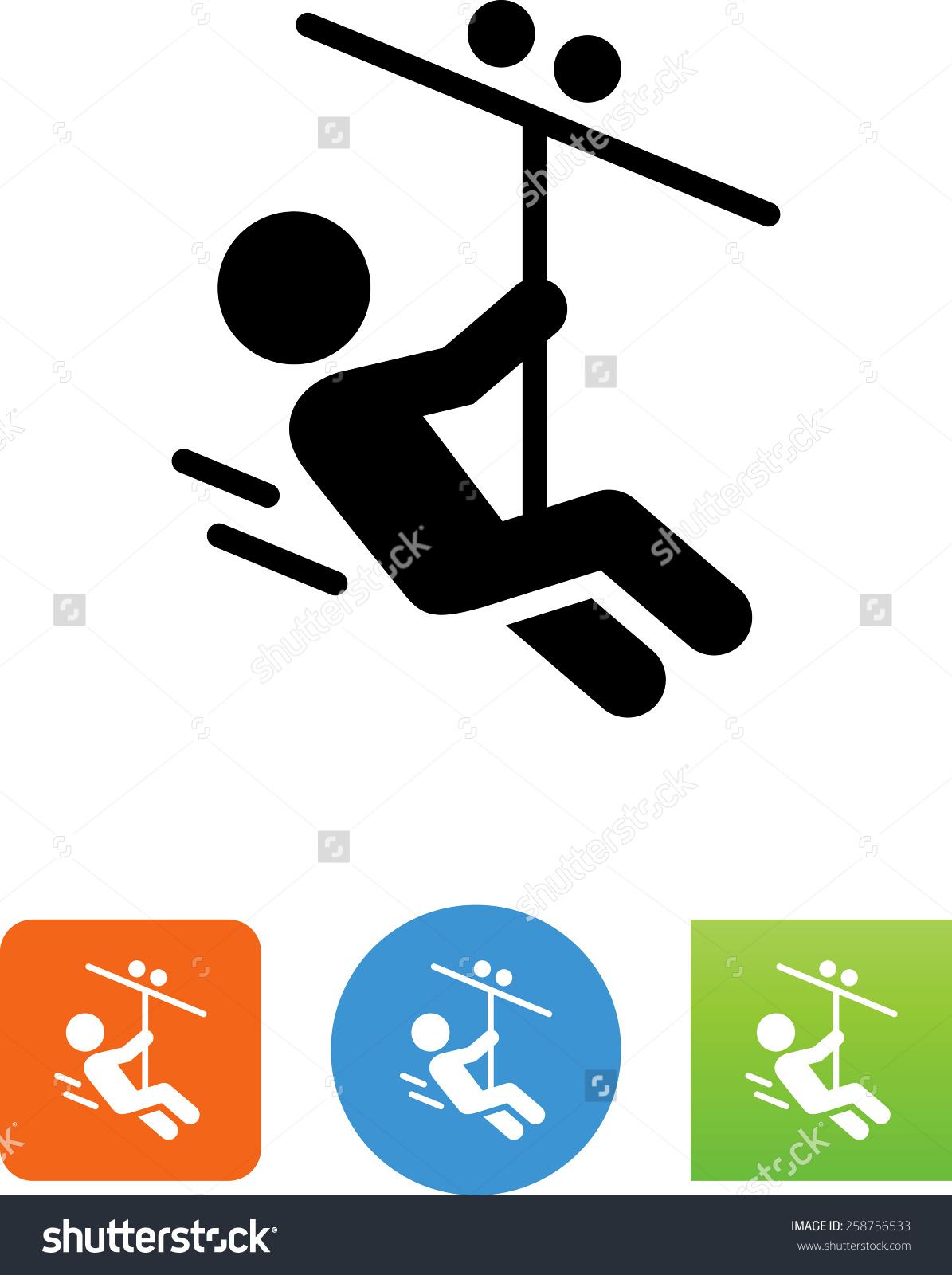 Person Riding Down Zip Line Vector Stock Vector 258756533.