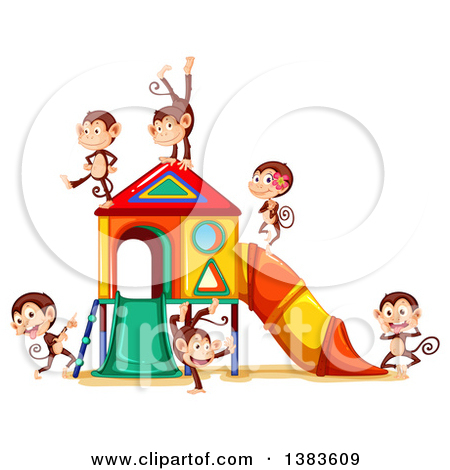 Cartoon Of Children Playing Jump Rope By A Slide.
