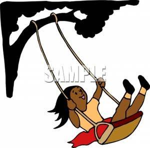 Girl Swinging on a Tree Swing.