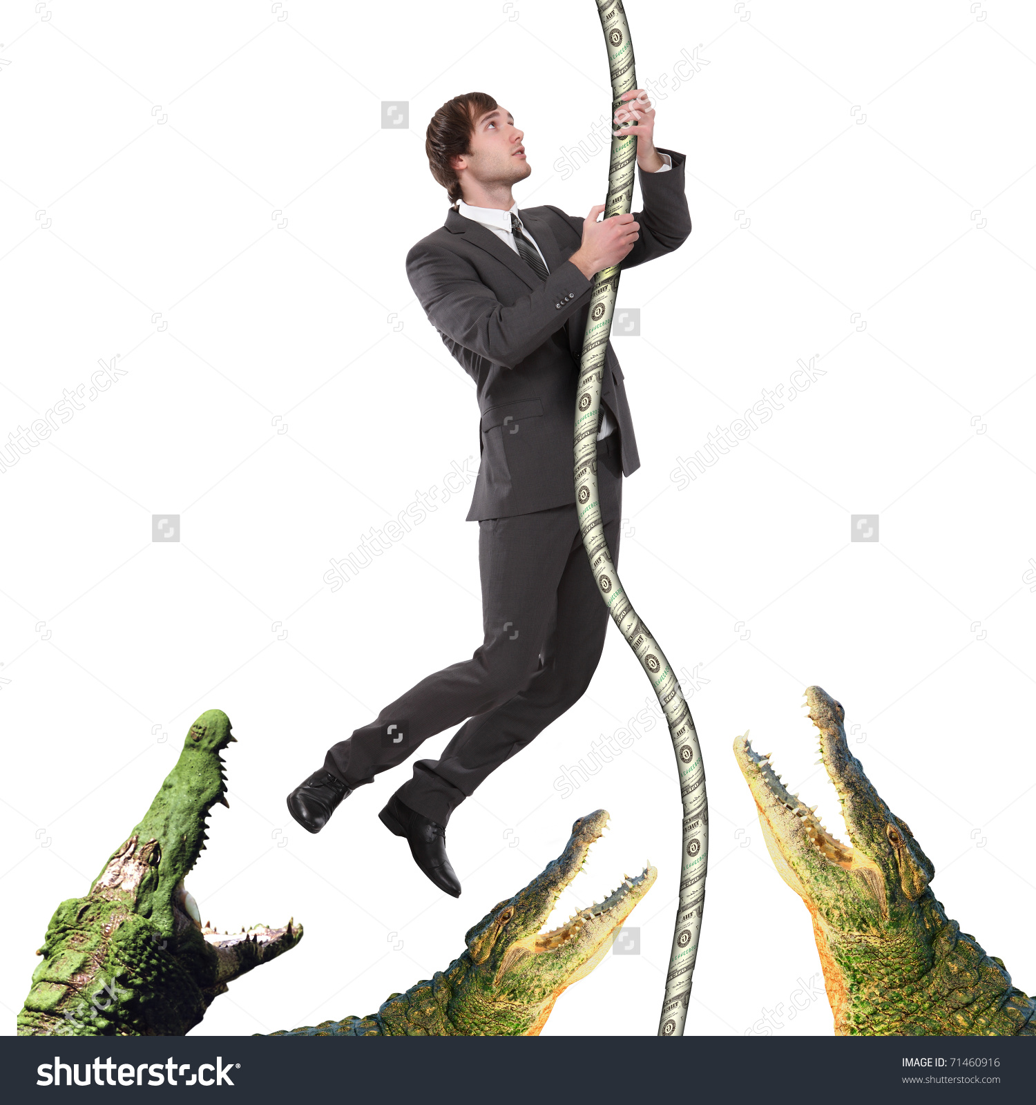 Business Man Black Suit Climbing Rope Stock Illustration 71460916.
