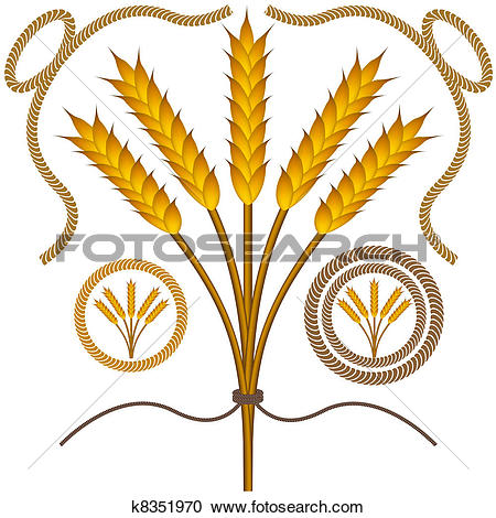 Clipart of Roped Wheat Set k8351970.