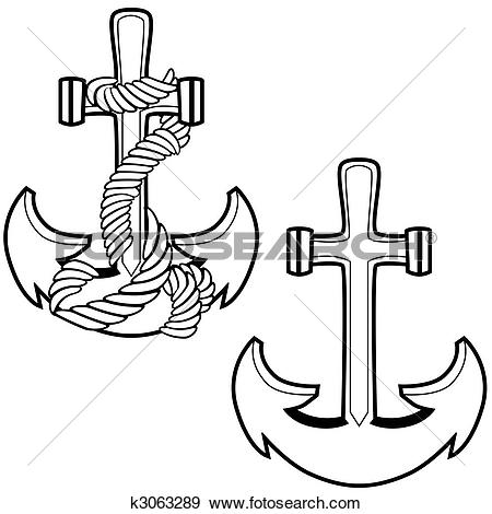 Clip Art of Roped Anchor Set k3063289.