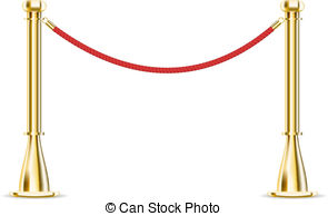 Vector Clipart of Rope barrier isolated on white.