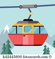 Ropeway Clip Art Vector Graphics. 311 ropeway EPS clipart vector.