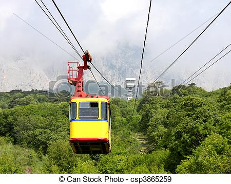 Stock Photographs of aerial ropeway cabin.