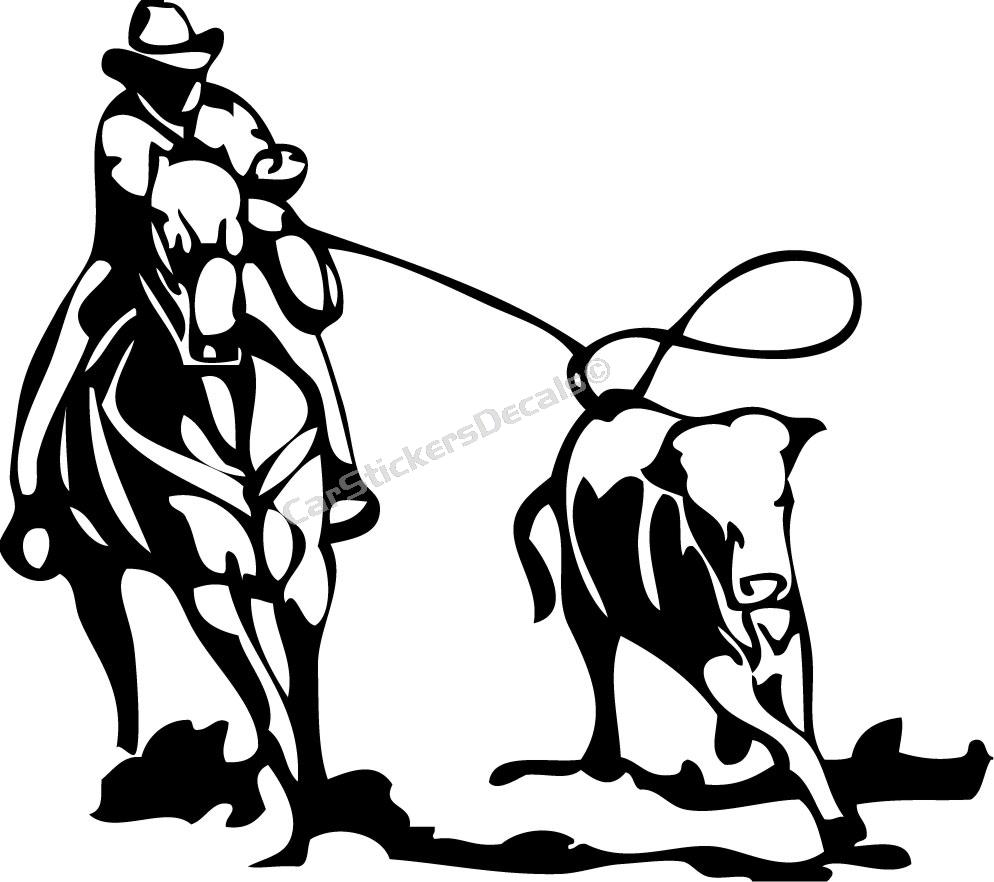 Calf Roping Clipart.