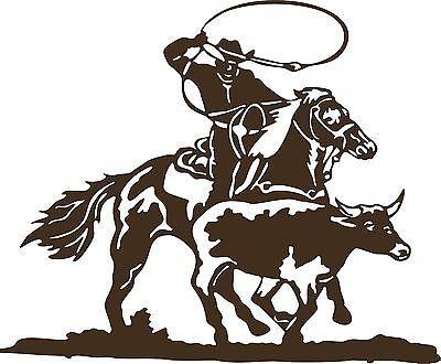 Cowboy Roping Calf Western Rodeo Bull Horse Car Truck Window.