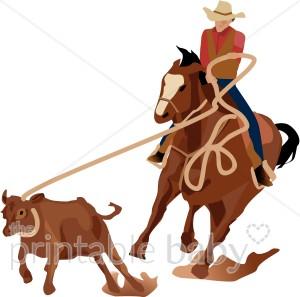 Cowboy Roping a Calf Clipart.