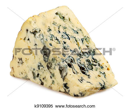 Stock Image of Slice of Roquefort cheese on white background.