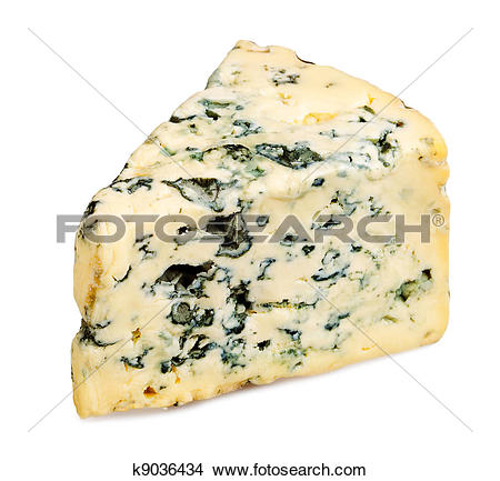 Stock Photo of Slice of Roquefort cheese on white background.