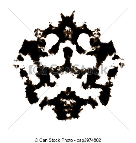 Clip Art of Rorschach Test of an Ink Blot Card csp3974802.
