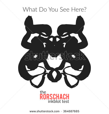 Rorschach Inkblot Test Vector Isolated Variation Stock Vector.