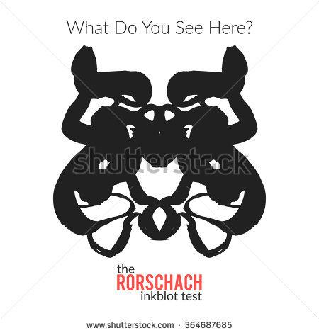 Rorschach Inkblot Test Vector Isolated Variation Stock Vector.