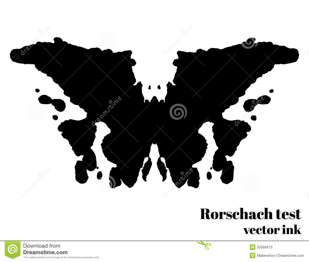 Rorschach Test Ink Blot Vector Illustration. Psychological Test.
