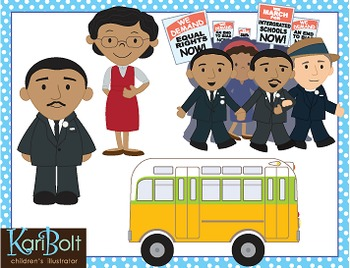 Martin Luther King Jr and Rosa Parks Clip Art.