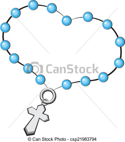 EPS Vectors of Rosary with a cross. Icon. Vector object on white.