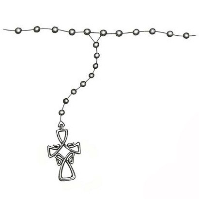 Ankle Rosary Beads Tattoo Design.