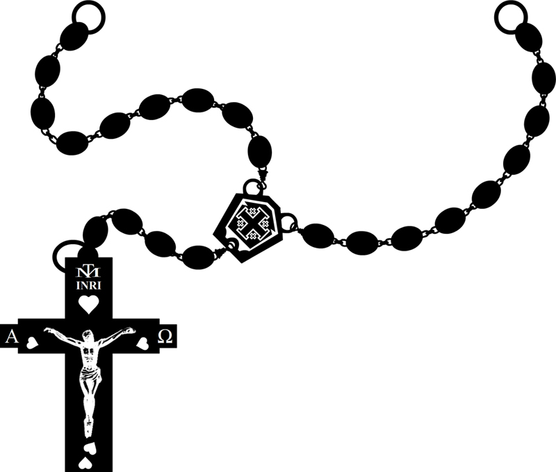 Rosary Clipart Black And White.