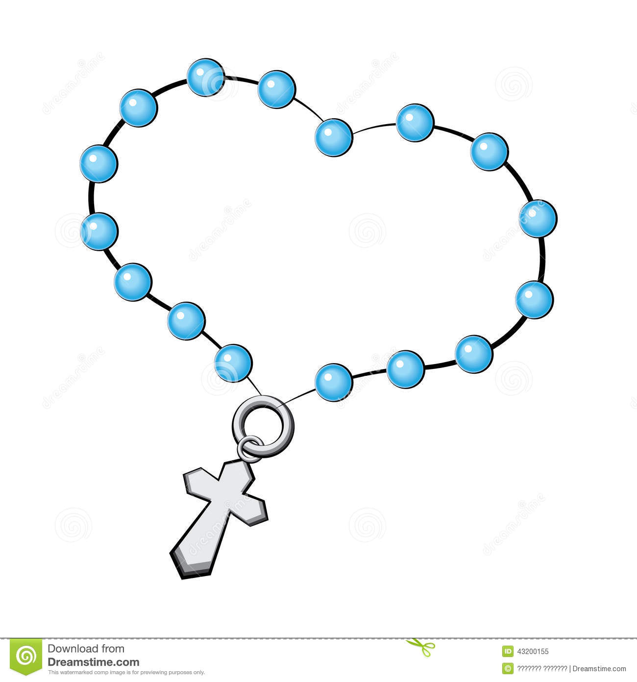 Blue Rosary Clipart.