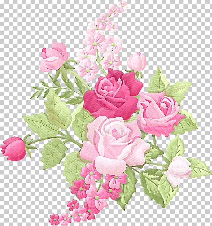 Ilustración de rosas rosadas, ramo de flores rosa, flores en.