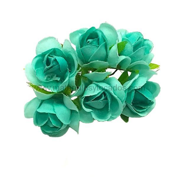 Ramillete de rosas de tela con hojas verdes. 6uds. Med. 2x2cm. Mod. MINIROSI.