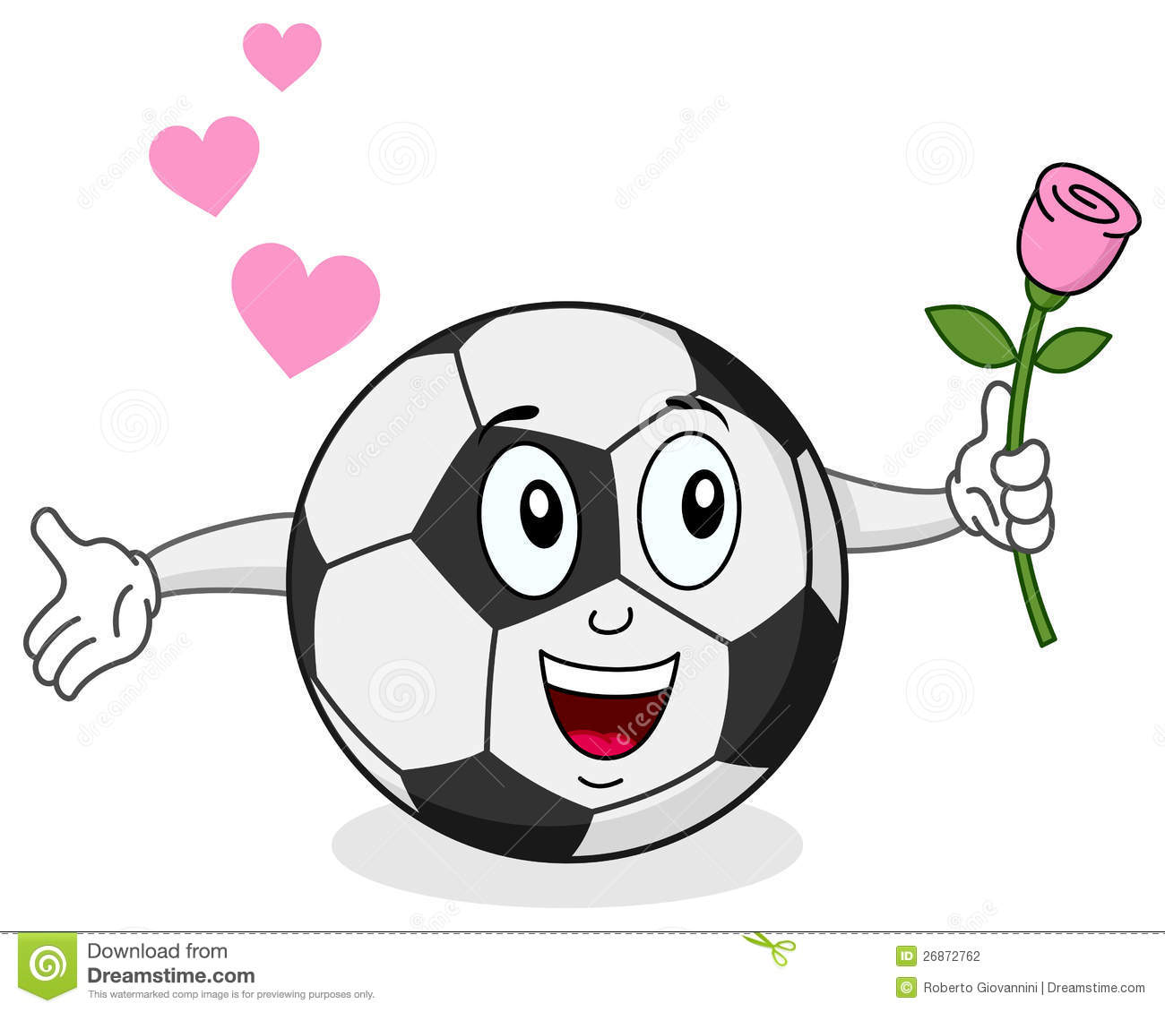 Soccer Ball With Rose Character Stock Photography.