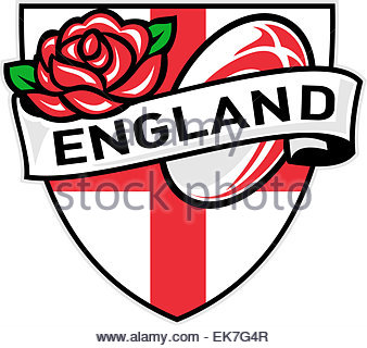 Rugby Ball England English Rose Stock Photo, Royalty Free Image.
