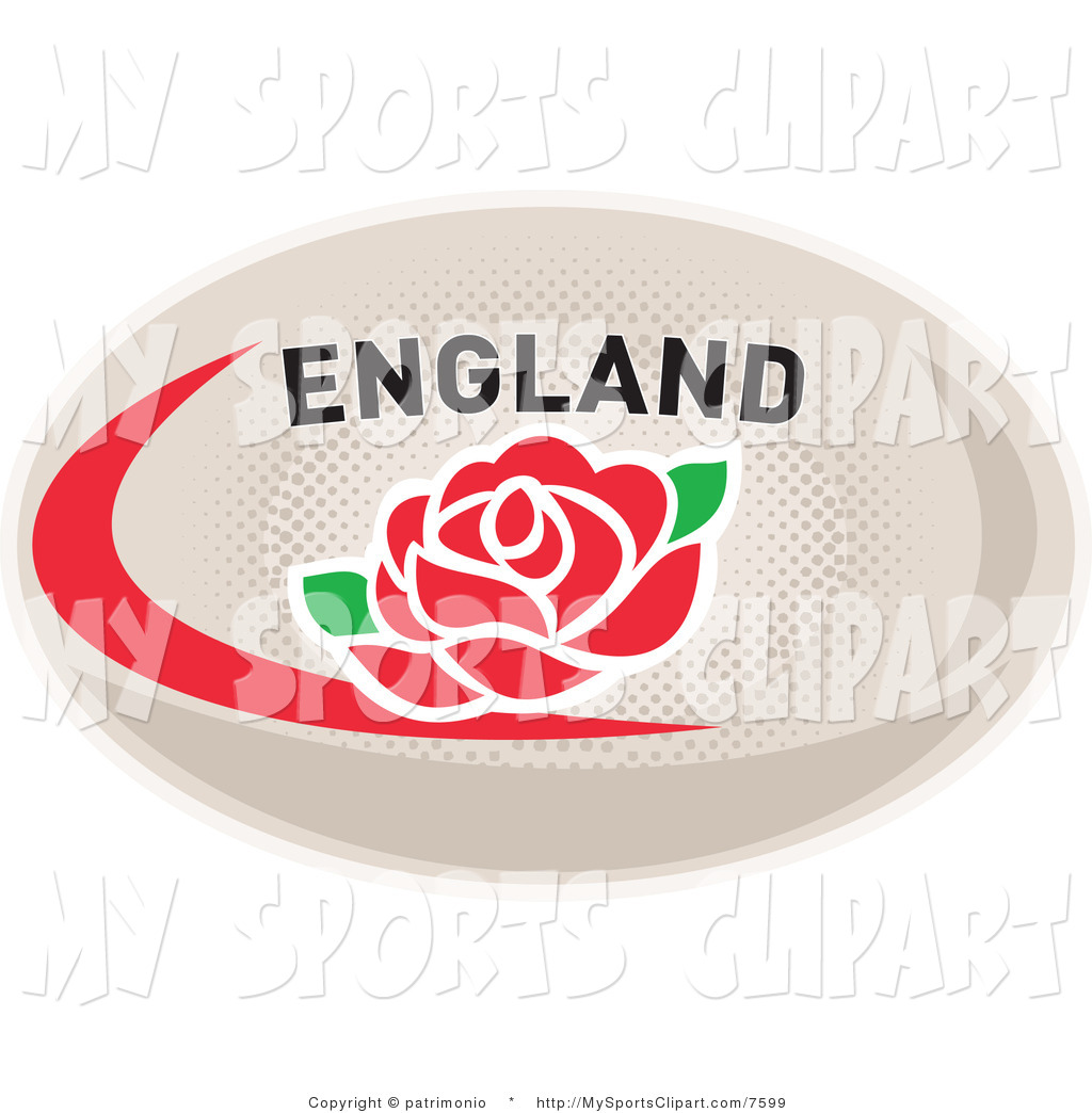 Sports Clip Art of a Red Rose on an England Rugby Ball by.