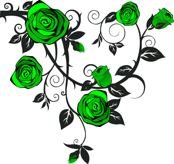Green rose clipart.