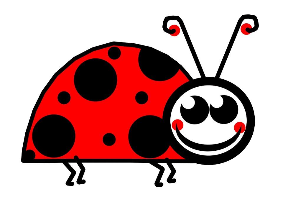 Free illustration: Lady, Bug, Clip, Art, Cartoon, Red.