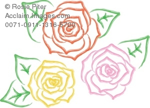 Clipart Illustration Of A Group Of Rose Bloom Designs.