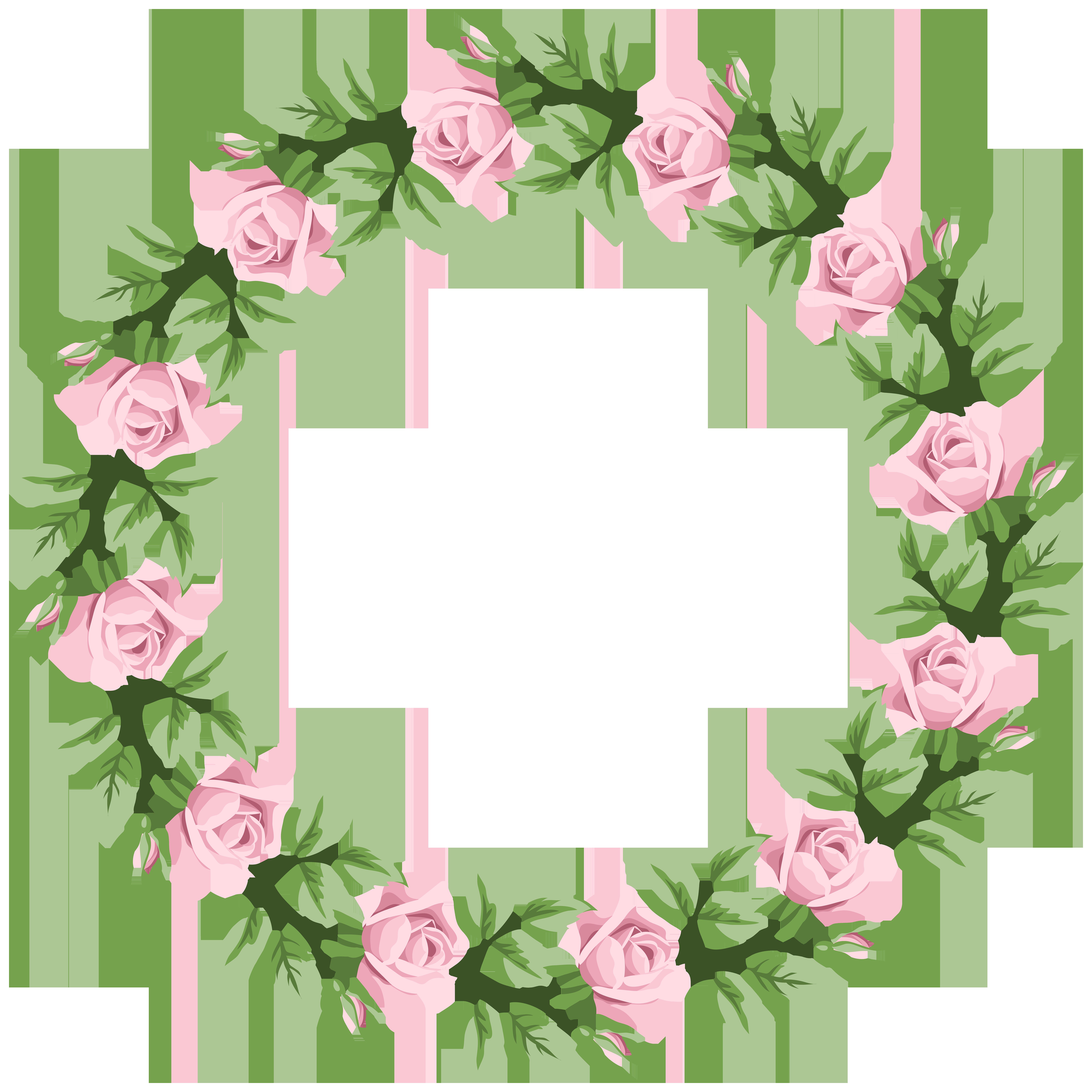 Pink Rose Border Frame Transparent PNG Clip Art.
