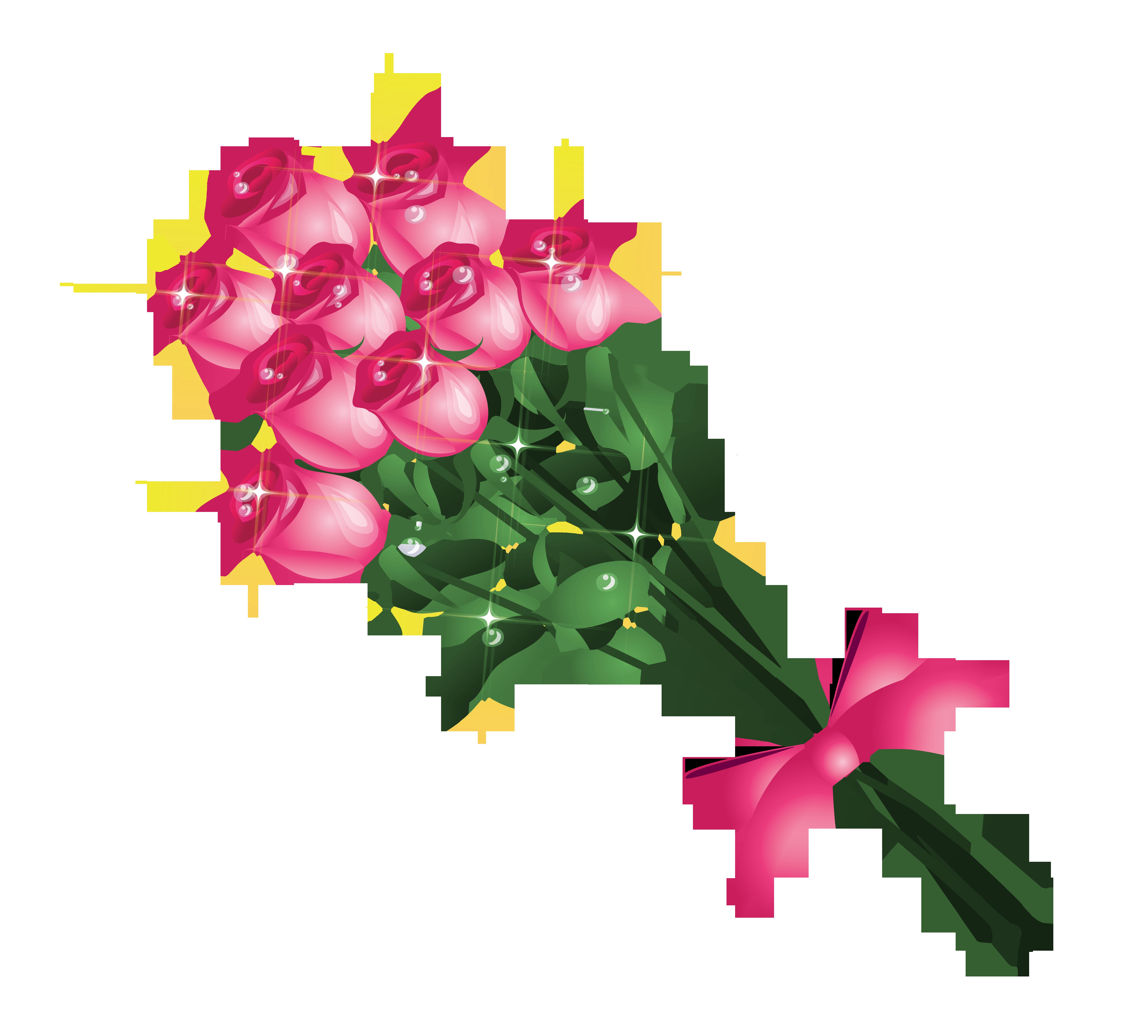 Transparent Pink Roses Bouquet PNG Clipart Picture.