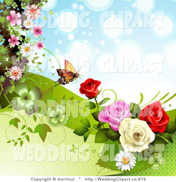 Rose Butterfly Clipart.