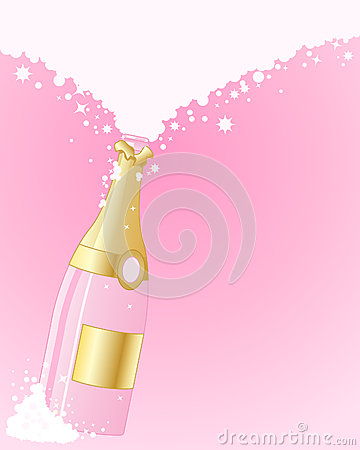 Pink Champagne Stock Vector.